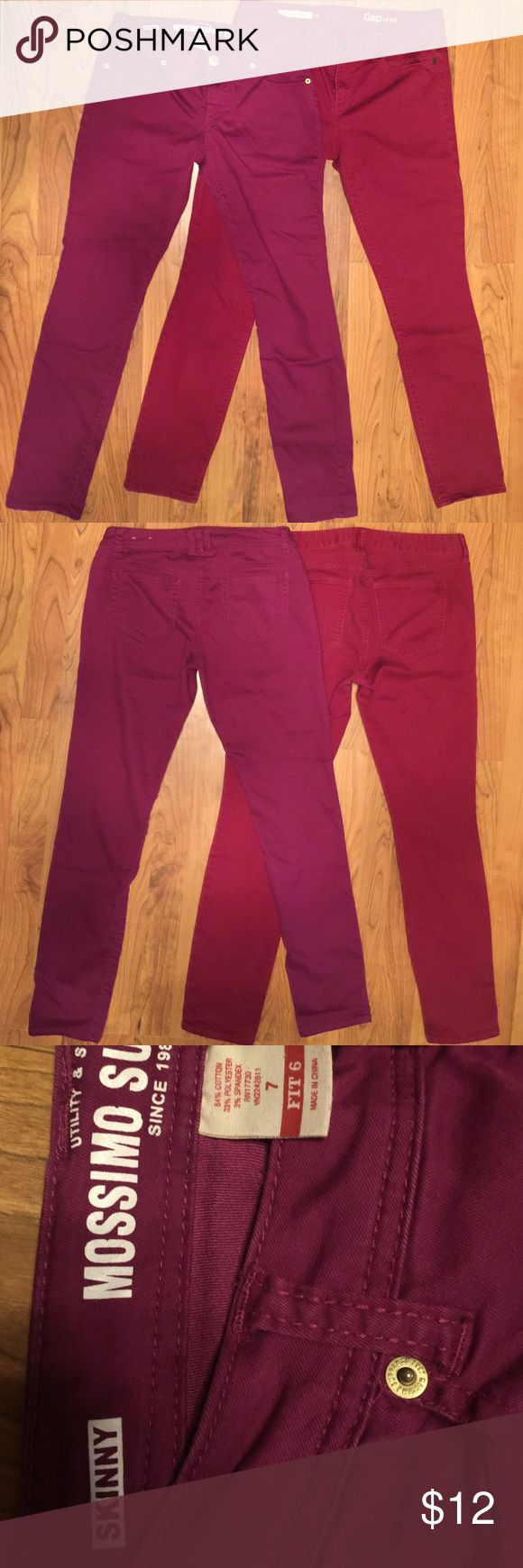 "Bundle Skinny Jeans:  Gap & Mossimo Size 7 Bundle Of 2 Pairs Skinny Jeans.  FYI:  Note Both Jeans ARE SIZE 7, NOT 8.   1) Gap 1969 Always Skinny Red-Purple.  Size 29 Regular,  16"" Waist, 28"" Long.  91% Cotton, 6% Polyester,  3% Spandex.  Condition:  Used Good.  2) MOSSIMO Stretch Skinny Jeans.  Color:  Raspberry/Fuscia.  Size:  Women's 7/Fit 6.  Waist:  15"",  28"" Long.  Condition: Used Good.  64% Cotton.  34% Polyester,  3% Spandex.  These Are Cool Stretch Skinny Jeans.  Think ""The…"