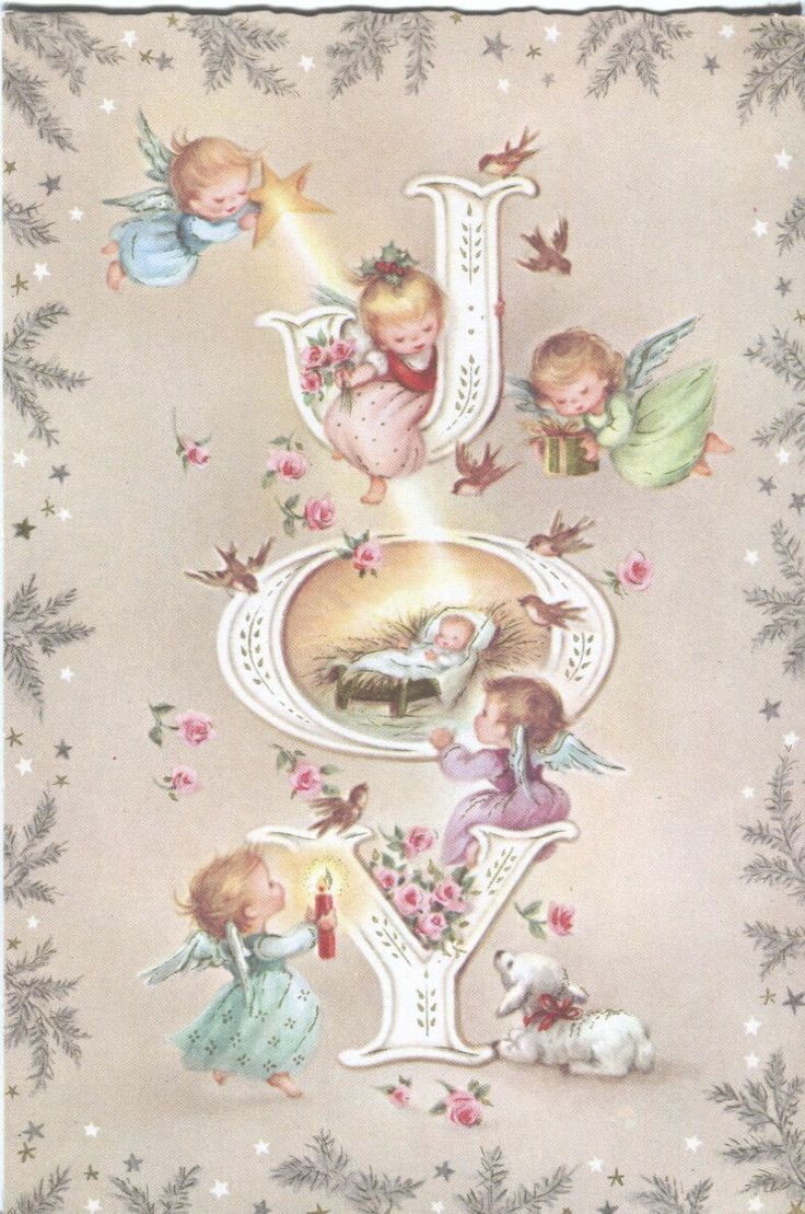 Vintage Christmas Card Angels Birds Lamb at Manger   eBay
