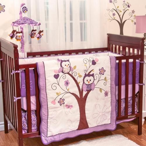 purple owl animals baby girl birds themed 5pc w bumper nursery crib bedding set ebay
