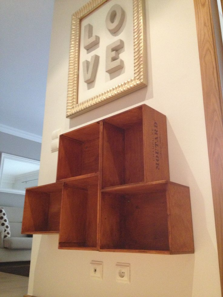 Wood wineboxes bookshelf