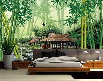Mur mur impression sticker mural déco intérieure murale de 3D bambou forêt 01 vues papier peint Sticker Mural murales pour enfants peintures murales papier peint enfant