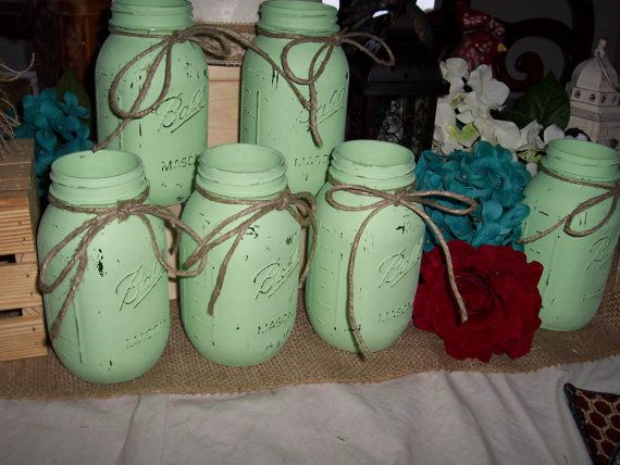 Flower Vases Painted mason jar mint green shabby chic weddings decorations centerpiece burlap and lace cottage chic barn