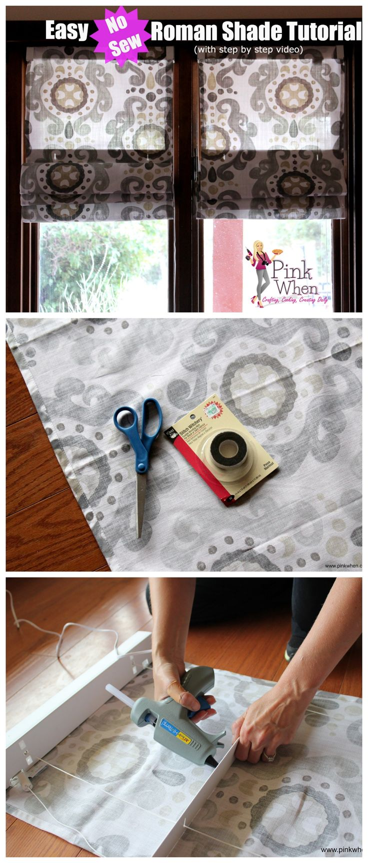 Make beautiful DIY No Sew Roman Shades with this easy to follow video tutorial! #nosew #roman #shade