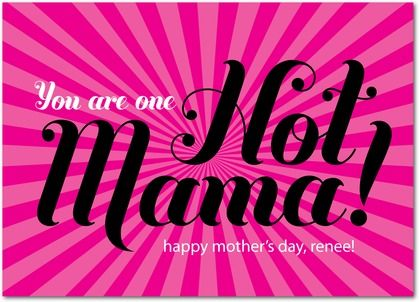 Hot Mama - Mother's Day Greeting Cards - Hello Little One - Fuchsia - Pink : Front: Little One, Greeting Cards