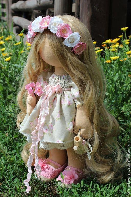 Купить Интерьерная кукла - бежевый, голубой цвет, розовый, Джинсовая ткань, кружево