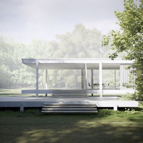 bauhaus-movement: The magnificent Farnsworth House in Plano,...