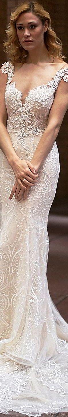 Sarah Jassir Bridal 2018 cap sleeves split sweetheart beaded bodice sheath lace wedding dress evelyn chapel train elegant