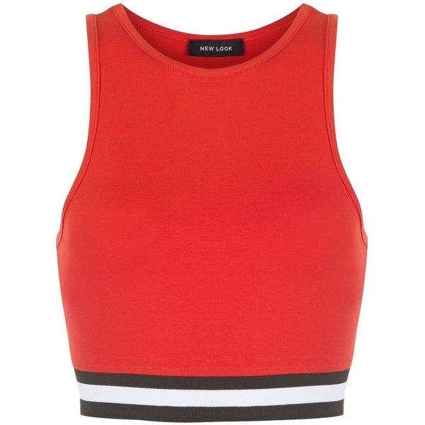 New Look Red Stripe Hem Crop Top (£8.99) ❤ liked on Polyvore featuring tops, shirts, crop tops, red, striped shirt, red shirt, red crop top, red top and red crop shirt