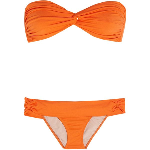 Tara Matthews Ruched bandeau bikini ($70) ❤ liked on Polyvore featuring swimwear, bikinis, swimsuits, bathing suits, swim, bright orange, bandeau top bathing suits, swim suits, scrunch bikini and bikini bathing suits