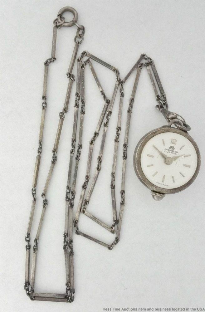 Bucherer 17 Jewels Silver Antique Ladies Pendant Watch W 28inch Chain To Fix Bucherer Orologio