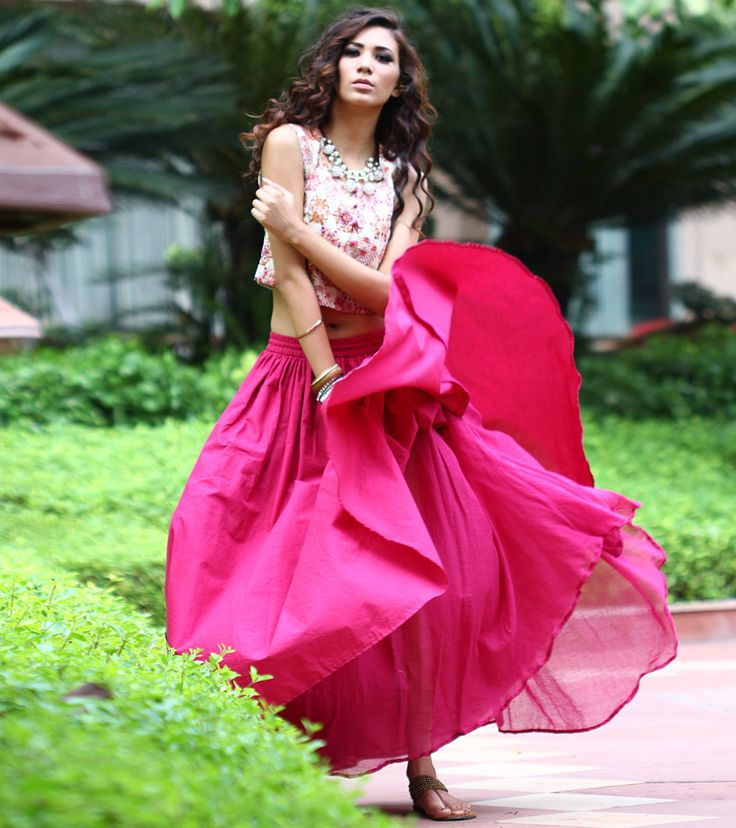 Burgundy Pleated Skirt with Crop Top | Indian Wedding ...