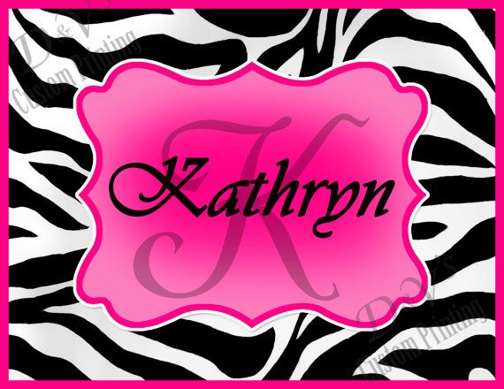 "Zebra Hot Pink ""Personalized Name & Monogram"" Your Name ..."