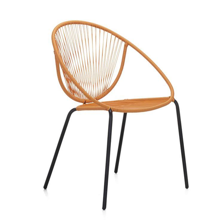 Fauteuil de jardin esprit rétro orange Orange/noir - Mahonia - Les fauteuils de jardin - Les tables et chaises - Jardin - Décoration d'intérieur - #AlineaPE2014