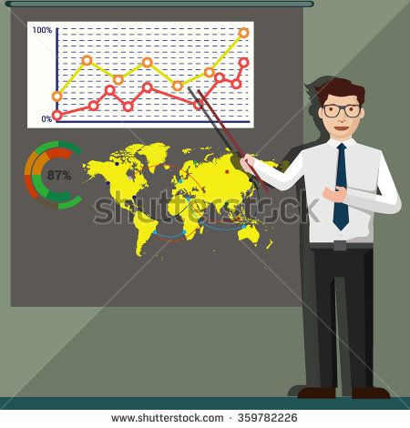 Businessman presentation, with Presentation screen and infographic. - stock vector