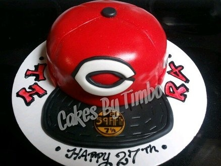 Cincinnati Reds Hat Cake!  Cake by Timbo