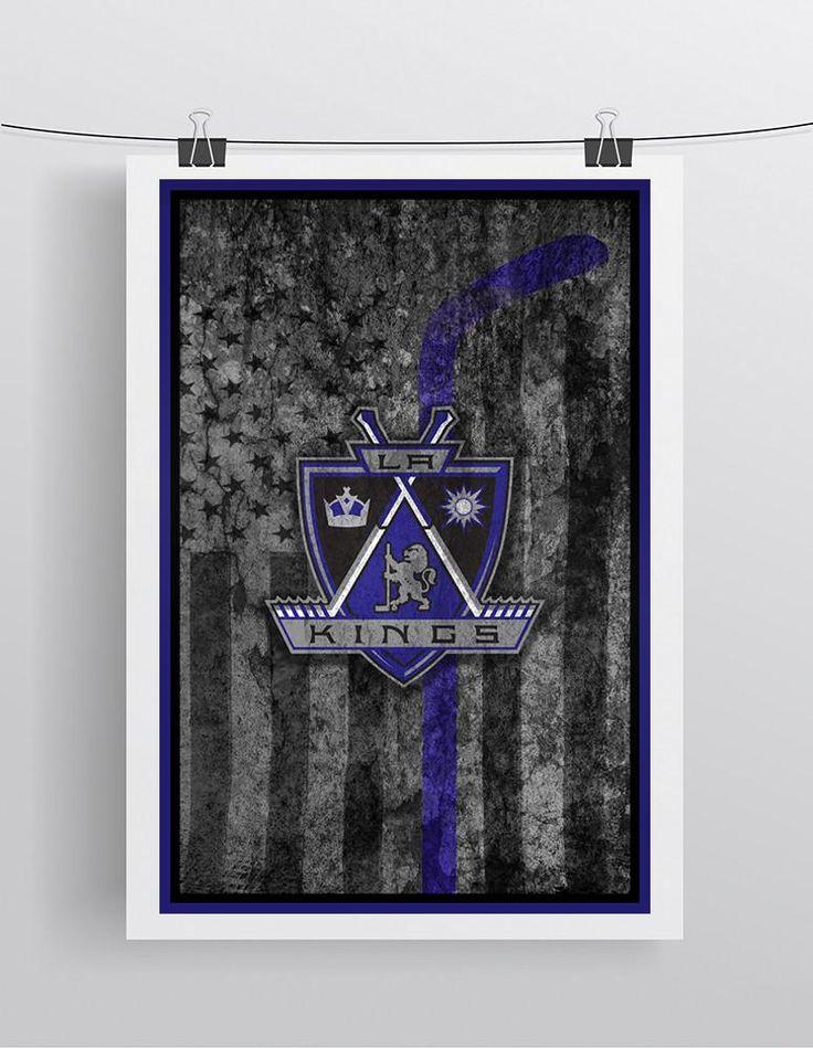 Los Angeles Kings Hockey Flag Poster, LA Kings Hockey Flag Print, Los Angeles Kings Man Cave Art, LA Kings