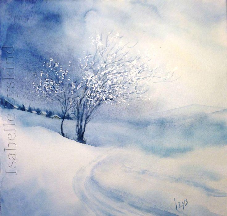 Chantal Jodin Watercolor Paysage Hiver Aquarelle Peinture