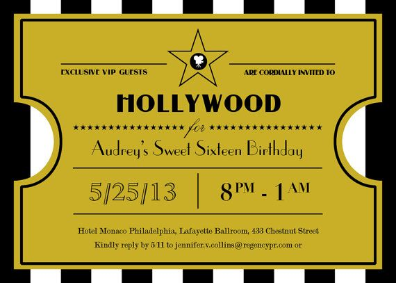 DIY Printable  Hollywood Sweet Sixteen  Ticket by maddieandmarry, $15.00