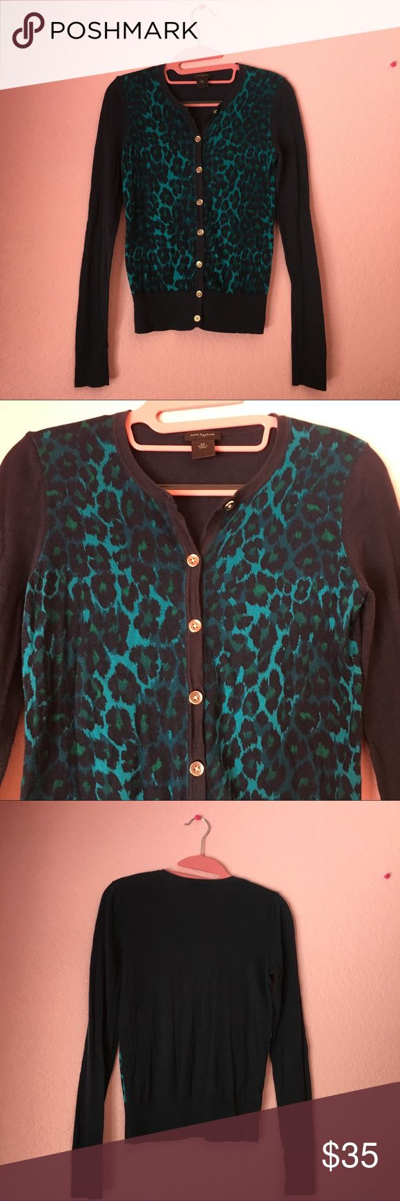 😍Ann Taylor blue leopard print cardigan  😍 Gorgeous Ann Taylor leopard print in teal gemstone 🌸 so comfy and light  💕🌸🌷It has beautiful silver buttons 💕 Ann Taylor Sweaters Cardigans