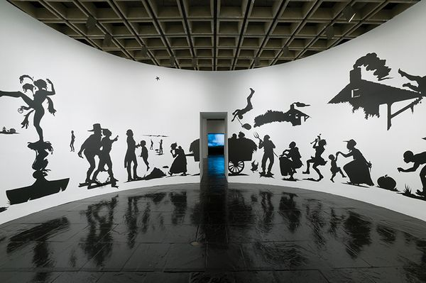 Installation view of Kara Walker: My Complement, My Enemy, My Oppressor, My Love (Whitney Museum of American Art, New York, October 11, 2007–February 3, 2008). Photograph by Sheldan C. Collins.