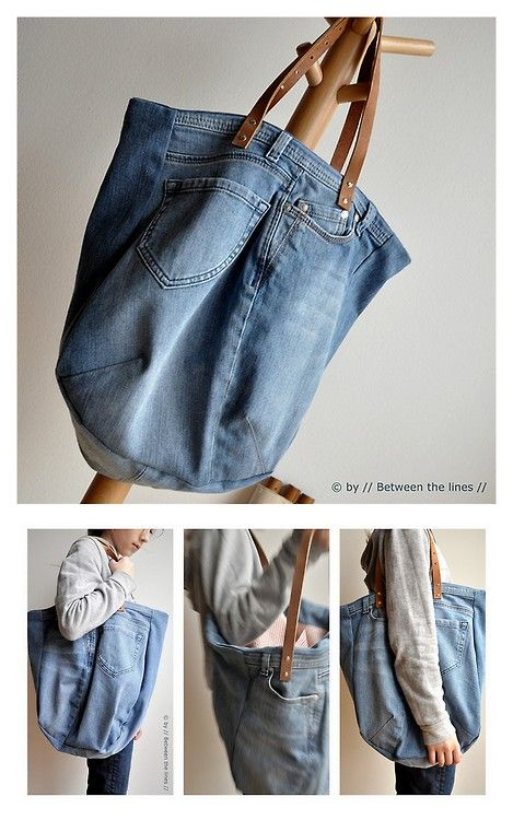 DIY Jean Bag Tutorial from Between the Lines. I see lots of recycled jean DIYs, but this is one...