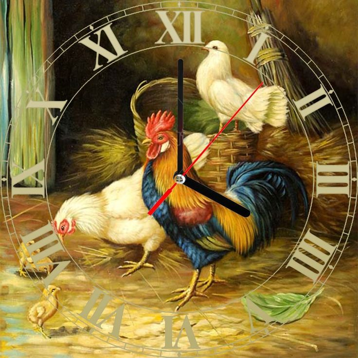 Tile Ceramic Wall & desk clock rooster vintage painting 1