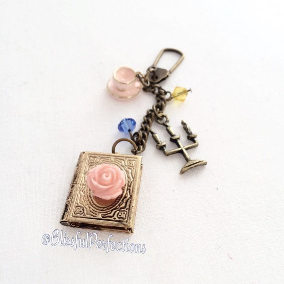 Disney's Beauty and the Beast Keychain - Beauty and the Beast Planner Charm: Belle's book, enchanted rose, Mrs. Potts, & Lumiere - $19.95 + shipping by BlissfulPerfections on Etsy
