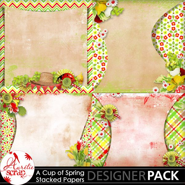 """Stacked Papers """"A Cup Of Spring"""" by Aurélie Scrap. Colors which bring up spring... It contains : 4 stacked papers"""