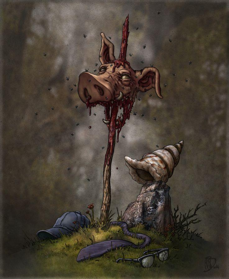 Belcebú, Satán… o El señor de las moscas. William Golding. Ilustración de Miguel Iturbe para Fabulantes - http://www.fabulantes.com/2014/12/el-senor-de-las-moscas-william-golding/