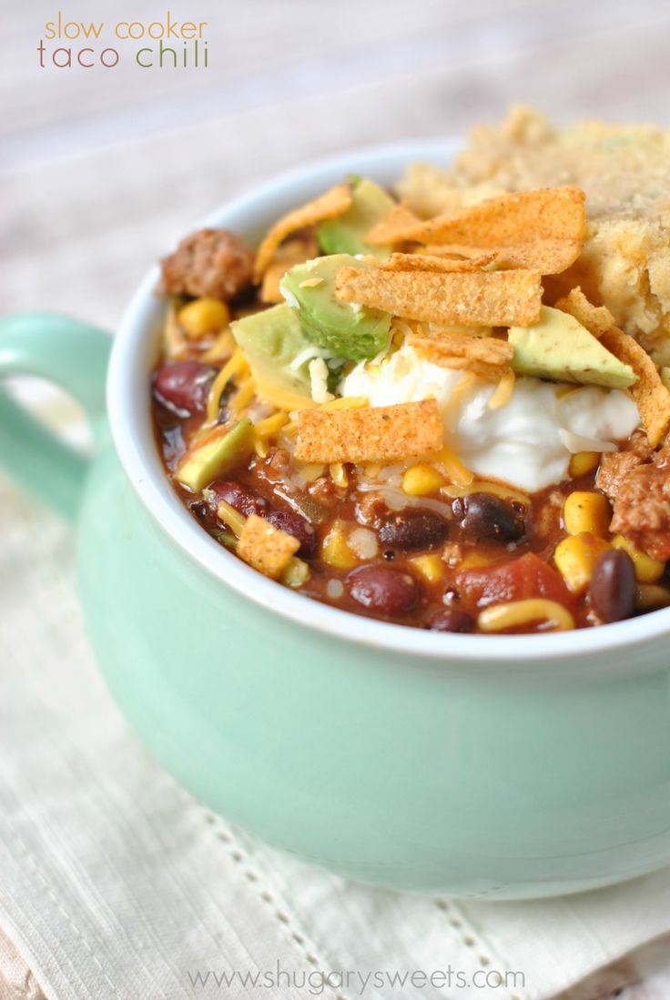 Slow Cooker Taco Chili | http://www.shugarysweets.com/2014/02/slow-cooker-taco-chili