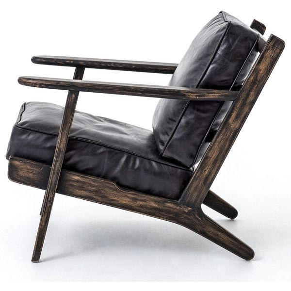 Rider Mid Century Modern Oak Black Leather Armchair 1542 Via Polyvore Featuring Home
