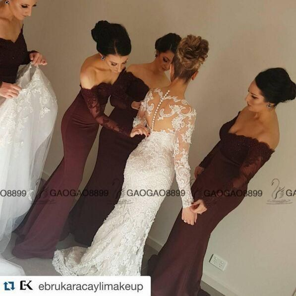 2016 Vintage Burgundy Lace Stain Long Sleeve Mermaid Beach Bridesmaid Dresses Dubai Arabic Style Maid Of Honor Wedding Party Guest Gown Gold Bridesmaid Dress High Street Bridesmaid Dresses From Gaogao8899, $86.84| Dhgate.Com