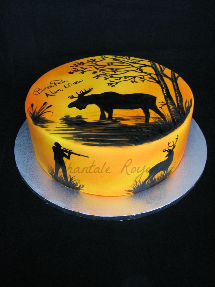 Cake hunting hunt moose roe deer gâteau chasse orignal chevreuil airbrush hunter chasseur