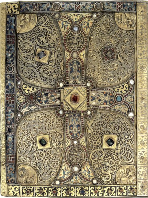 Back cover of the Lindau Gospel. Carolingian, late 8th century. Silver gilt, garnet and enamel.  From Attila to Charlemagne: Arts of the Early Medieval Period in The Metropolitan Museum of Art  The Metropolitan Museum of Art, 2000