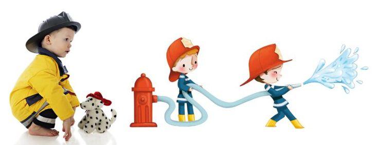 Sticker Playground Pompier arroseur 115x45 - Acte deco