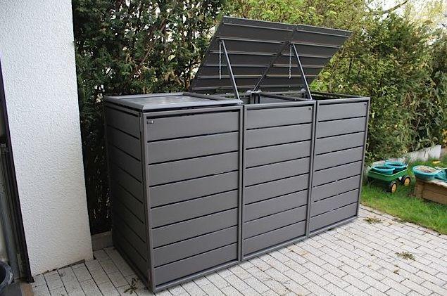 Mülltonnenbox grau Aluminium – 3er 120L mit Klapp…
