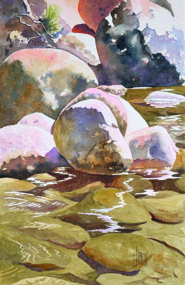 Aquarelle – Rivière du Yosemite Park – Pas à pas