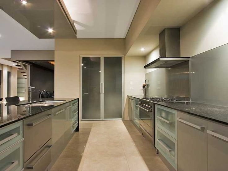 Modern Galley Kitchen Remodel black bench tops with glass splashbacks - google search | new