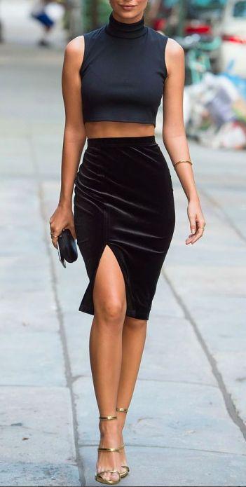 pinterest @esib123  velvet skirt and black crop top