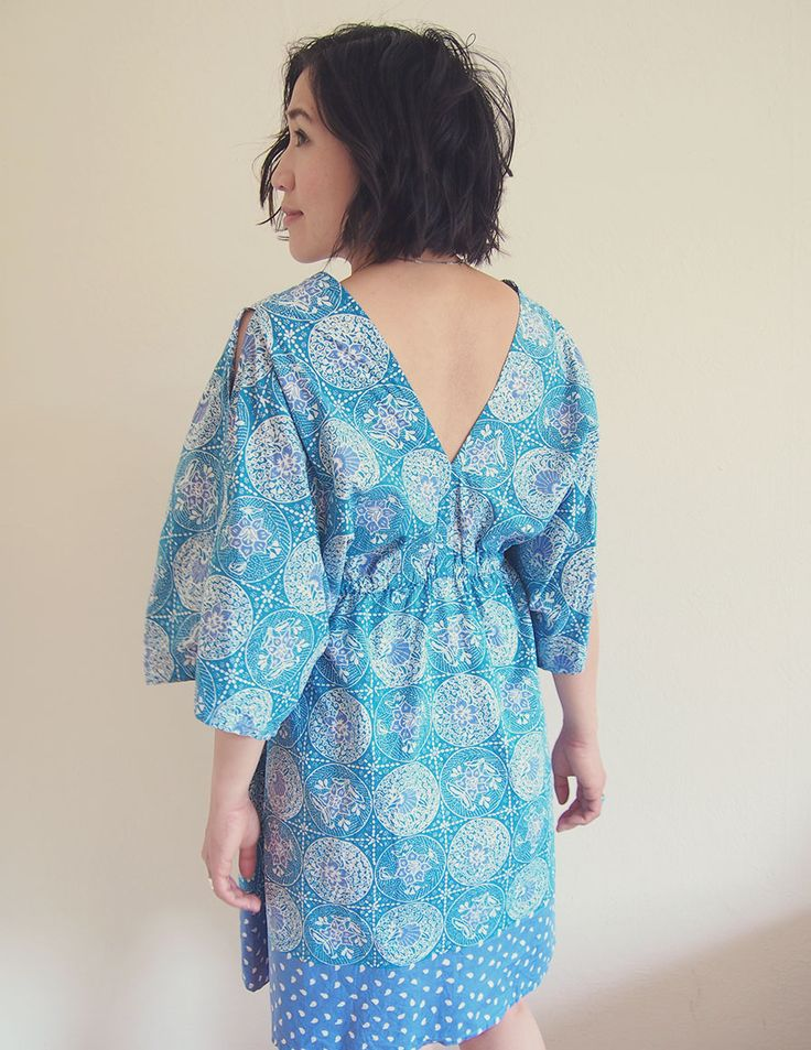 Free Sewing Pattern - Boho kimono summer dress. Make this easy dress out of cotton and other lightweight fabrics.