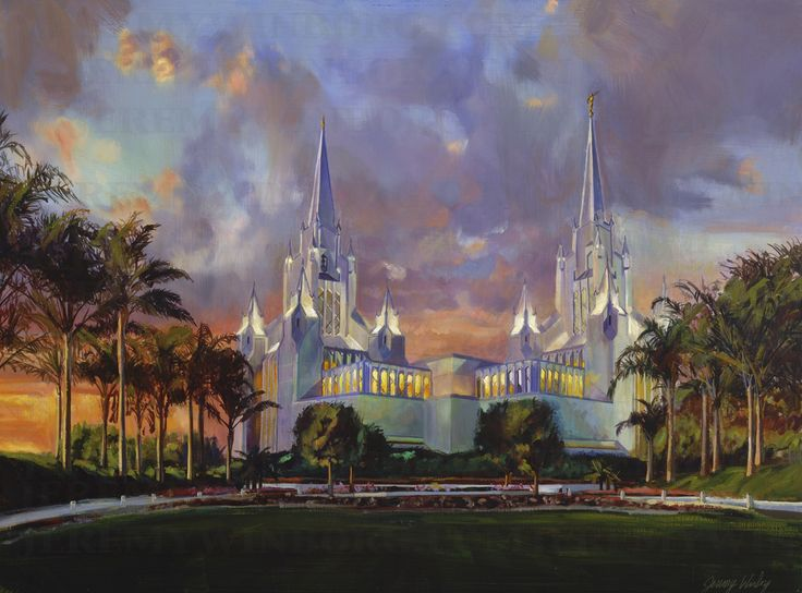 LDS temple in California original oil painting. San Diego Temple