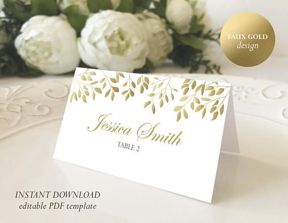 faux gold place card template printable escort card printable name card folded place