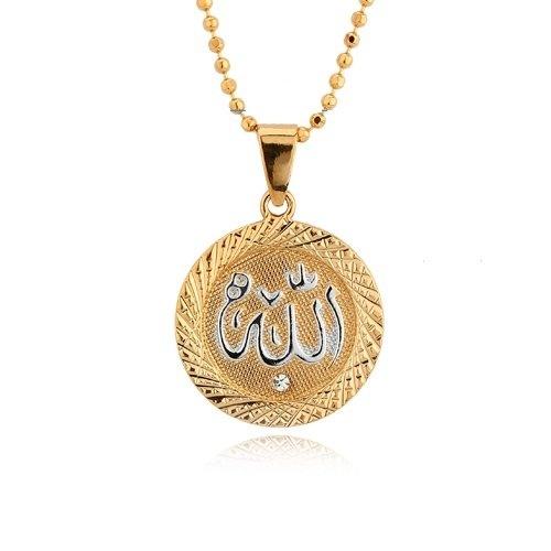 Exclusive 18K Gold Plated Round Cut Rhinestone Allah Necklace Pendant Women's Men's Religious Spiritual Islamic Muslim Jewelry  Price:$19.99