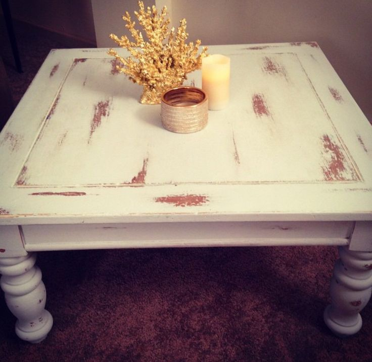 Coastal Chic Coffee Table Furniture Flip. White Paint Distressed Coffee  Table With Gold Coral Decor
