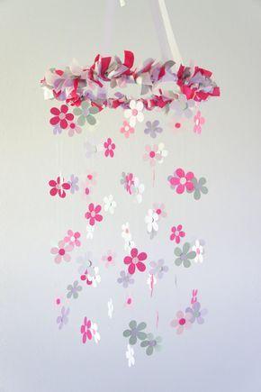 Daisy Nursery Mobile in Pink, Gray, & Lavender - Baby Girl Nursery Decor, Baby Shower Gift