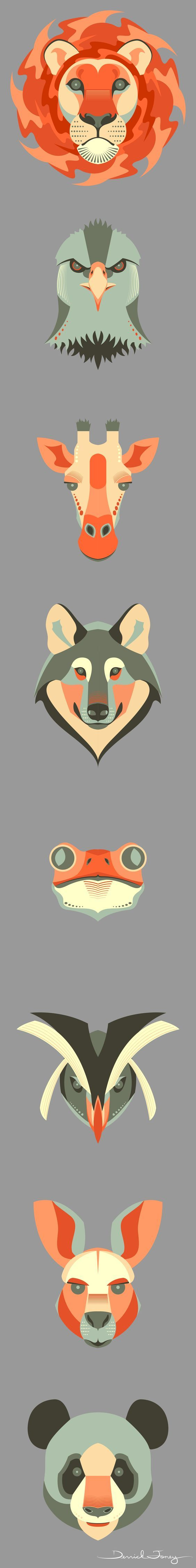Animals I illustrated for a graphic design zoo project.