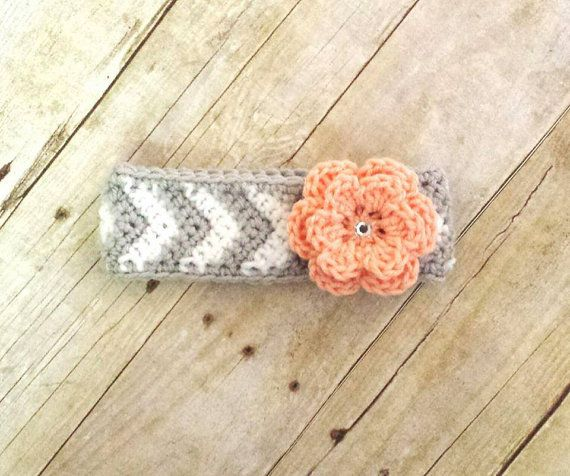 Crochet Baby Chevron Flower Headband by ModernCrochetBaby on Etsy, $10.00