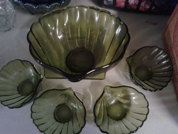 vintage anchor glass clam shell salad bowl with by kimscheckitout, $150.00