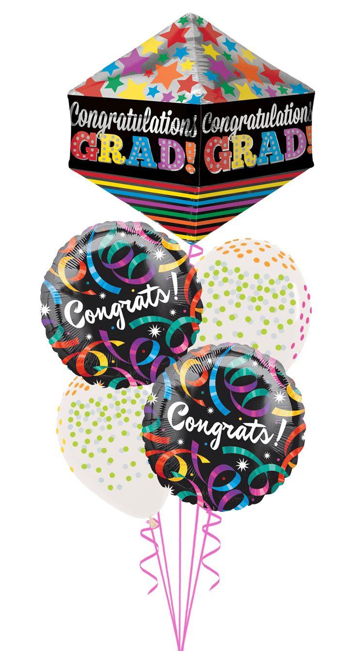 Congratulations grad balloons with confetti
