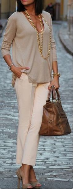 Stitch Fix Fashion 2017! Ask your stylist for something like this in your next fix, delivered right to your door! #sponsored #StitchFix  Business attire. Cream pants, beige silk top, gold chain necklace.